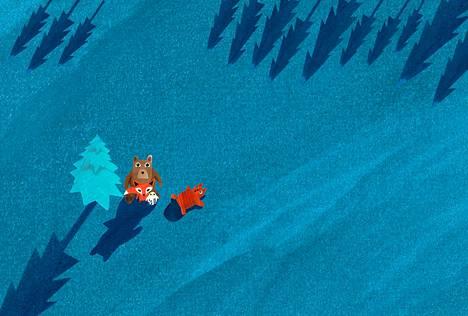 Pieni Mur-karhu ihmettelee öistä tähtitaivasta ja kysyy Iso-karhulta kiperiäkin kysymyksiä.