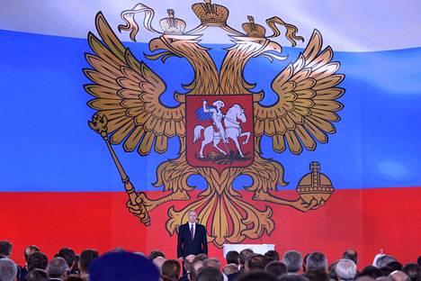 Venäjän presidentti Vladimir Putin puhui liittoneuvostolle.