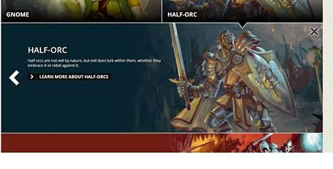 Puoliörkin kuvaus uuden D&D-pelin verkkosivulta.
