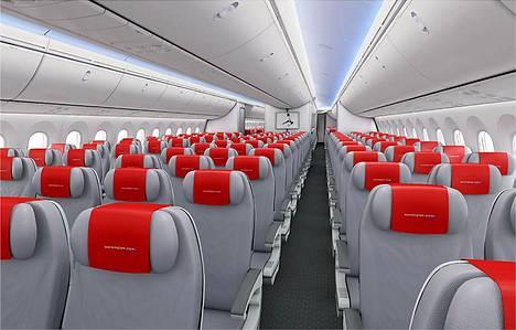 Norwegian 787-8 Dreamliner sisältä.