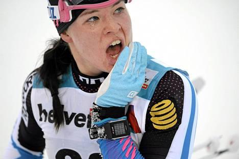 Krista Pärmäkoski oli parhaana suomalaisena sijalla 11 maailmancupin kilpailussa Norjan Lillehammerissa. Kuva on marraskuulta Kuusamosta.