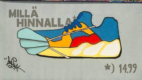 Tommi Mustaniemen lenkkitossugraffiti löytyy Matarin skeittipuiston lailliselta graffitiseinältä.