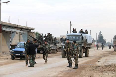 Syyrian armeijan sotilaita Idlibin alueella tammikuun alussa.