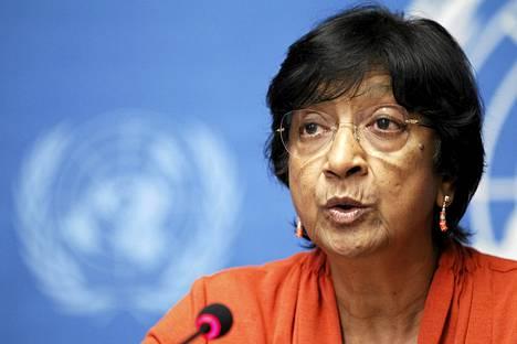 YK:n ihmisoikeuskomissaari Navi Pillay viime keskiviikkona lehdistötilaisuudessa Genevessä.