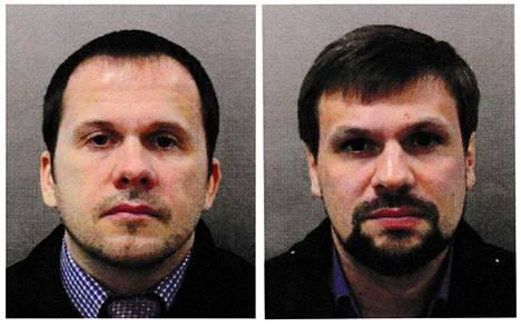 Venäläiset tiedustelu-upseerit Aleksandr Miškin ja Anatoli Tšepiga Britannian poliisin syyskuussa 2018 julkaisemissa passikuvissa. Miehet ovat käyttäneet myös peitenimiä Aleksandr Petrov ja Ruslan Boširov.
