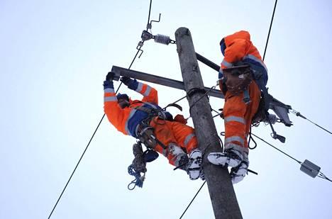 Eltelin asentajat korjasivat kaatuneiden puiden vaurioittamia sähkölinjoja Kirkkonummen Hirsalassa marraskuussa 2012.