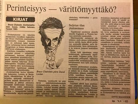 Antti Majanderin koko arvostelu Bruce Chatwinin Erottamattomat-teoksesta Helsingin Sanomissa marraskuussa 1983.