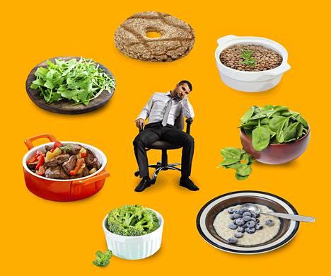 Punainen liha sisältää runsaasti hyvin imeytyvää rautaa. Tärkeitä kasviperäisen raudan lähteitä ovat esimerkiksi täysjyvävilja ja palkokasvit.