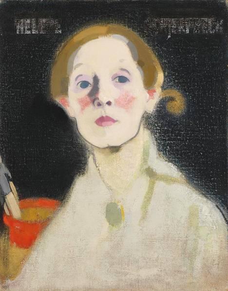 Helene Schjerfbeck: Mustataustainen omakuva, 1915. Osa teoksesta.