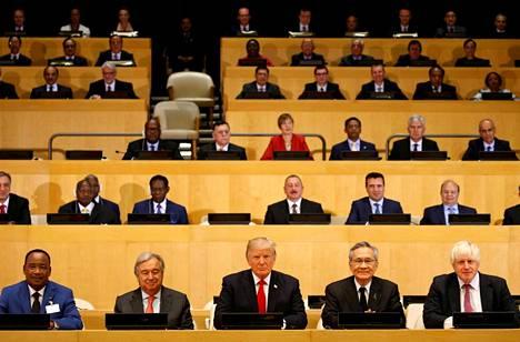 Donald Trump osallistui YK:n huippukokousta edeltävään järjestön uudistamista koskevaan kokoukseen YK:n päämajassa New Yorkissa maanantaina.
