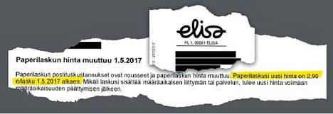Elisa tiedotti paperilaskun hinnankorotuksista maaliskuussa. Korotukset astuvat voimaan toukokuun alussa.