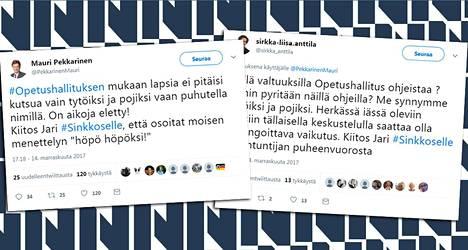 """""""Kiitos Jari #Sinkkoselle"""", kirjoittivat Mauri Pekkarinen ja Sirkka-Liisa Anttila."""