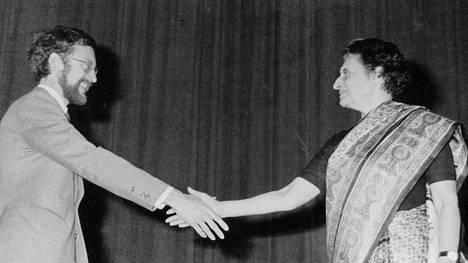 Mikko Pyhälä tapasi Intian pääministeri Indira Gandhin New Delhissä 1981.