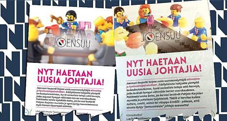 Sunnuntaina Joensuun kaupunki nostatti äläkän kun se haki uusia johtajia parrakkaan legoukon kuvalla (vas.). Keskiviikkona julkaistiin uusi mainos, jossa on mukana useita hahmoja, legoukkoja ja -akkoja.