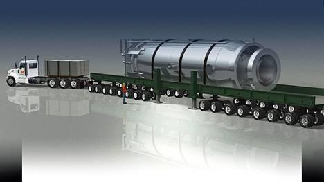Amerikkalaisen Nuscale -yhtiön hahmottelema pienydinvoimalamoduuli.