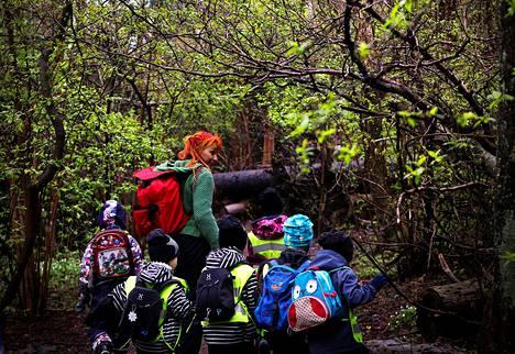 Vantaan Kartanonkosken päiväkodin Auringonkukat-kerho kulkevat metsään Sirpa Markkasen johdolla. Kuva on toukokuulta 2014.