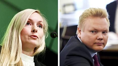 Sisäministeri Maria Ohisalo ja keskustan eduskuntaryhmän puheenjohtaja Antti Kurvinen.