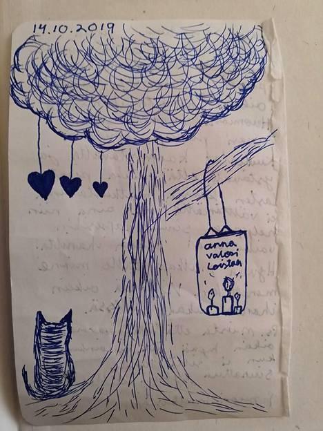 Kirjeen kirjoittanut tyttö oli myös piirtänyt toiselle puolelle kuvan.