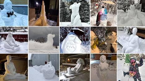 Lumiteoskisan finaaliäänestykseen valittiin 15 lumiveistosta eri puolilta pääkaupunkiseutua.