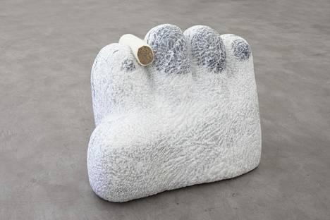 Emma Jääskeläinen: Night Studio, 2021, marble, travertine, sheep wool.