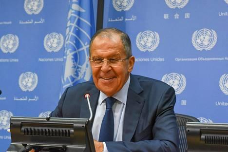Venäjän ulkoministeri Sergei Lavrov oli perjantaina YK:n yleiskokouksessa New Yorkissa.