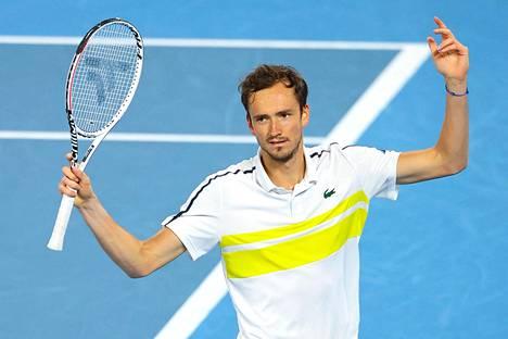 Tenniksen maailmantilaston kakkonen Daniil Medvedev sairastui koronavirukseen Monte Carlon Masters-turnauksessa. Kuva helmikuulta.
