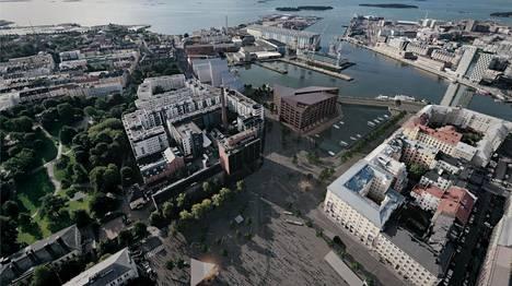 Arkkitehtitoimisto JKMM:n ehdotuksessa uudisrakentamista tulisi Hietalahdenrannan satama-altaan eteläreunalle.