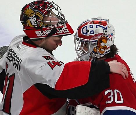 Ottawan Craig Anderson lohdutti Montrealin Peter Budaj'ta ottelusarjan ratkettua.