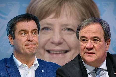 Baijerin pääministeri Markus Söder (vas.) kertoi sunnuntaina olevansa valmis liittokansleriehdokkaaksi eli Angela Merkelin seuraajaksi. CDU:n suurimman puolueen puheenjohtaja Armin Laschet (oik.) on myös kiinnostunut tehtävästä.