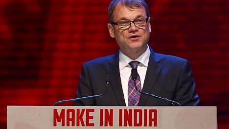Juha Sipilä puhumassa Intian-matkallaan 13. helmikuuta 2016.