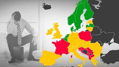 Vähiten työuupumuksesta kärsivät Euroopassa hollantilaiset. Vihreät alueet = vähän työuupumusta, keltaiset alueet = kohtalaisesti työuupumusta, punaiset alueet = paljon työuupumusta.