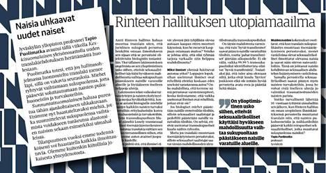 Vasemmalla Sunnuntaisuomalaisen juttu (KSML 11.8.), oikealla Tapio Puolimatkan mielipidekirjoitus (KSML 5.8.).