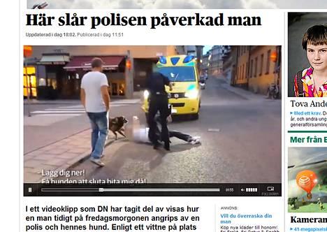 Ruotsalaislehti Dagens Nyheter julkaisi videon päihtynyttä miestä taltuttavasta poliisista.