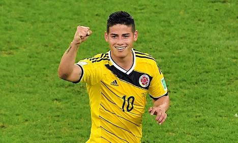 Kolumbian James Rodríguez johtaa MM-kisojen maalipörssiä viidellä osumallaan.