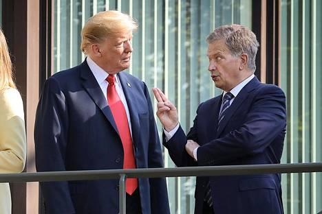 Donald Trump ja Sauli Niinistö tapasivat aamiaisen merkeissä presidentin virka-asunnolla Mäntyniemessä heinäkuussa 2018.