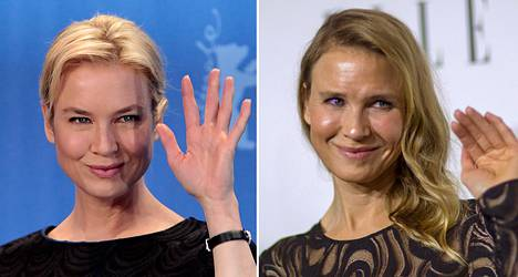 Renée Zellweger vuonna 2009 (vas.) ja 2014.