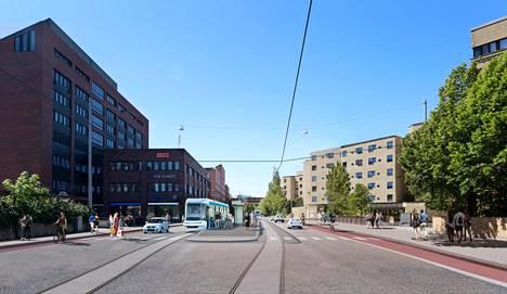 Pohjois-Haagassa pikaraitiotie kulkisi Kaupintietä pitkin.