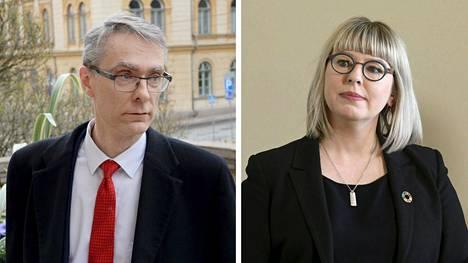 Oikeuskansleri Tuomas Pöysti sekä sosiaali- ja terveysministeri Aino-Kaisa Pekonen.