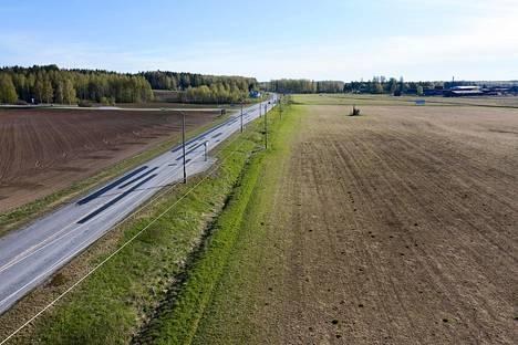 Kuutostien varressa Kiteellä Koivikon kartanon mailla nurmea kasvaneet pellot ovat ruskeana hanhien jäljiltä. Ainoastaan tienvarren tienoo vihertää.