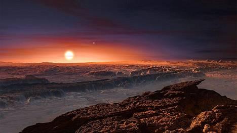 Taiteilijan näkemys, millaista Proxima b:llä saattaa olla. Taivaalla näkyy kolme tähteä, jos katsoo tarkasti.