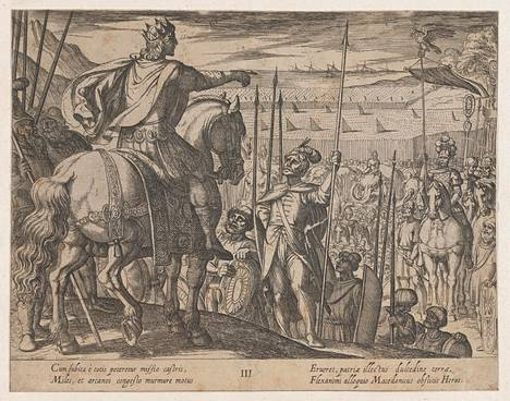 Italialaisen taiteilijan Antonio Tempen teoksessa Aleksanteri Suuren teot, 1608, Aleksanteri Suuri antaa ohjeita sotilailleen. Filosofi Pyrrhon Eilisläinen kiersi maailmaa Aleksanteri Suuren valloitusretkillä.