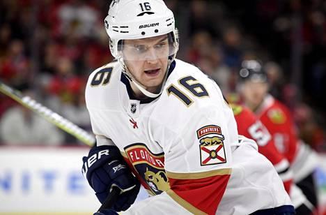 Aleksandr Barkov iski kaksi maalia Vancouver Canucksin verkkoon tiistain NHL-kierroksella.