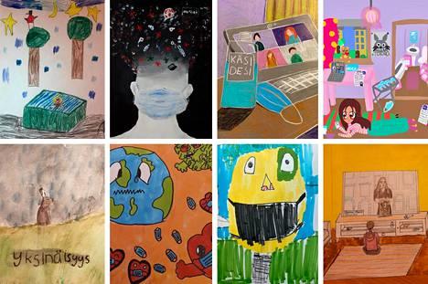 Minä ja korona -piirustuskilpailussa voittoa tavoittelee 20 taideteosta.