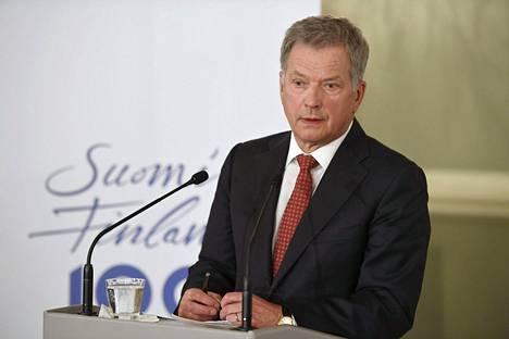 Presidentti Sauli Niinistö kertoi Suomen 100-vuotisjuhlavuoden ohjelmasta Helsingissä tiistaina.