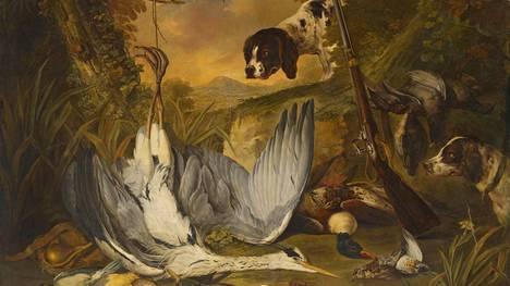 Jacob Xavier Vermoelen (1696–1773): Riista-asetelma. Teos on näyttelyn helmi.