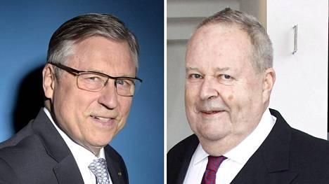 Pertti Salolainen (vasemmalla) ja Ilkka Suominen muistelevat Helmut Kohlia suurena eurooppalaisena valtiomiehenä.