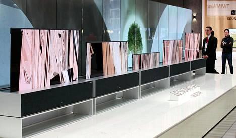 LG:n rullautuva televisio oli näytillä elektroniikkamessuilla Las Vegasissa Yhdysvalloissa tammikuussa 2019.