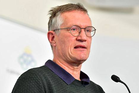Ruotsin valtionepidemiologi Anders Tegnell puhui tiedotustilaisuudessa Tukholmassa tiistaina.