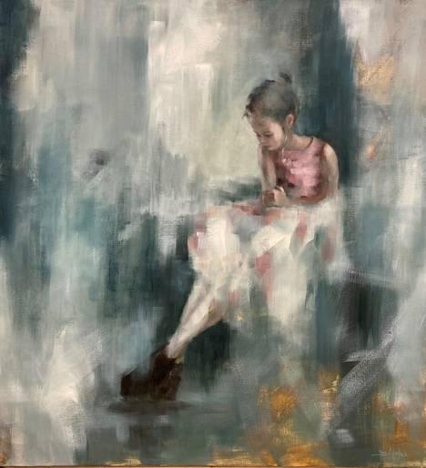 Suvi Malek on Salmelan kesän 2021 nuori taiteilija. Kuvassa teos Tanssimekossa, 2021, öljy kankaalle