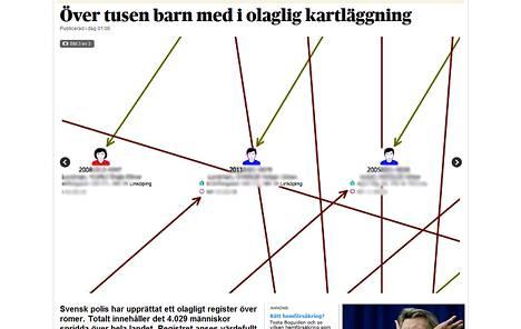 Ruutukaappaus Dagens Nyheterin paljastamasta poliisin romanirekisteristä. Kuvassa oleva kaavio näyttää romanilasten sukulaisuussuhteet.